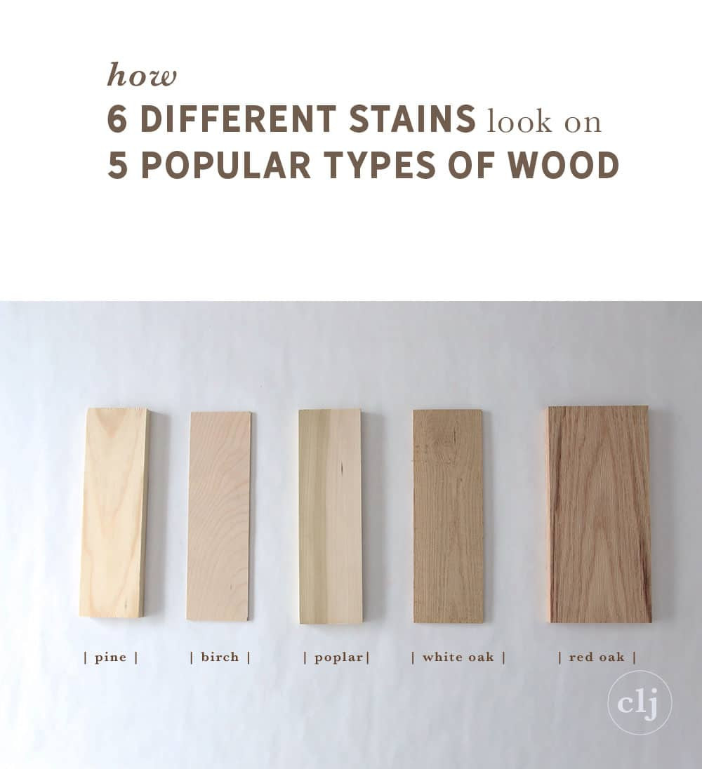 1 common red oak hardwood flooring of how 6 different stains look on 5 popular types of wood chris loves for weve been wanting to do a wood stain study for years now and in my head i wanted to do every type of wood with about 20 different stains each