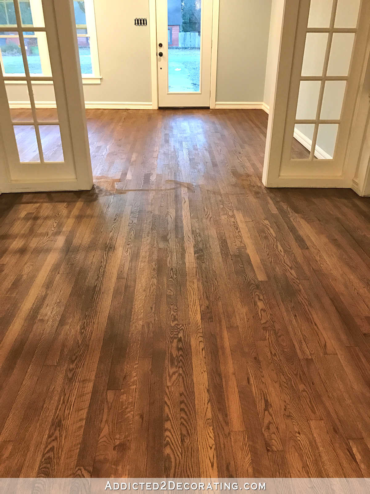 2 Different Color Hardwood Floors Of Adventures In Staining My Red Oak Hardwood Floors Products Process In Staining Red Oak Hardwood Floors 9 Stain On Entryway and Music Room Floors