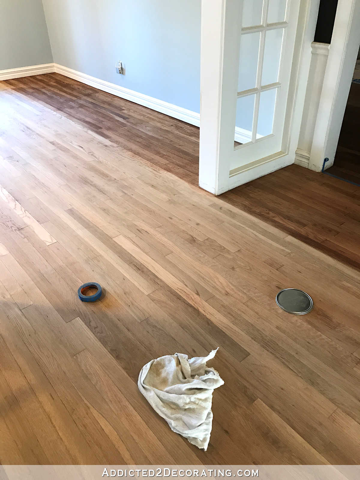 2 different color hardwood floors of adventures in staining my red oak hardwood floors products process regarding staining red oak hardwood floors 3 entryway and music room
