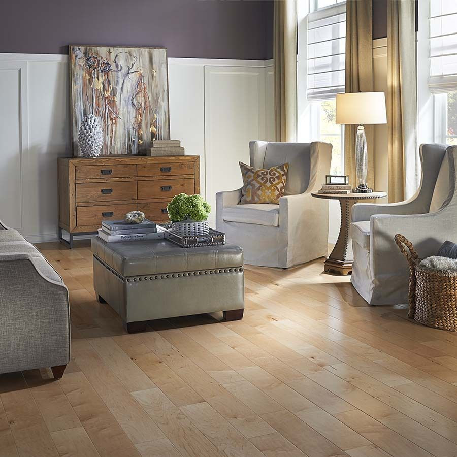 birch hardwood flooring prices of shop pergo max 5 36 in w prefinished maple locking hardwood flooring intended for try lightening up a purple room with neutral furniture and decor with pergo max natural maple hardwood floor