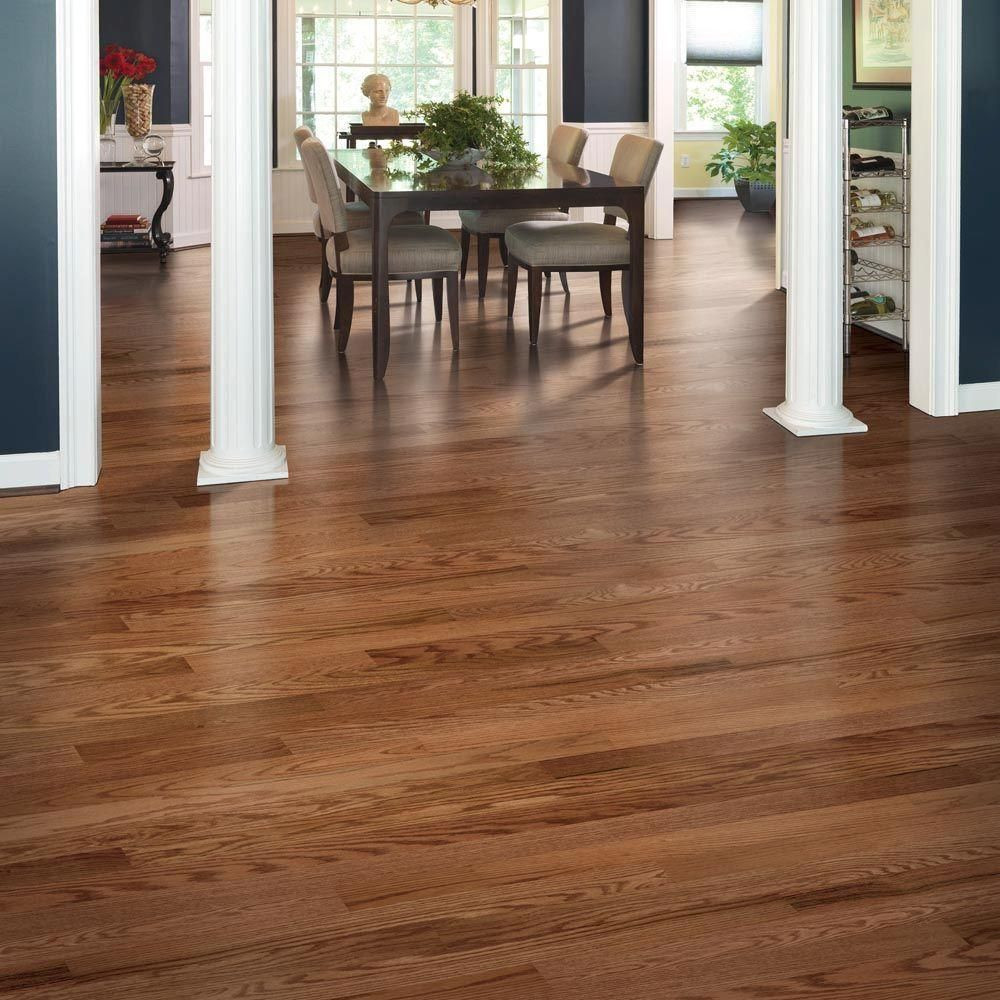 Bruce Hardwood Floors Distressed Brown Hickory Of Mohawk Oak Winchester 3 8 In Thick X 3 1 4 In Wide X Random Length with Mohawk Oak Winchester 3 8 In Thick X 3 25 In Wide X Random Length Click Hardwood Flooring 23 5 Sq Ft Case Hgo43 62 the Home Depot