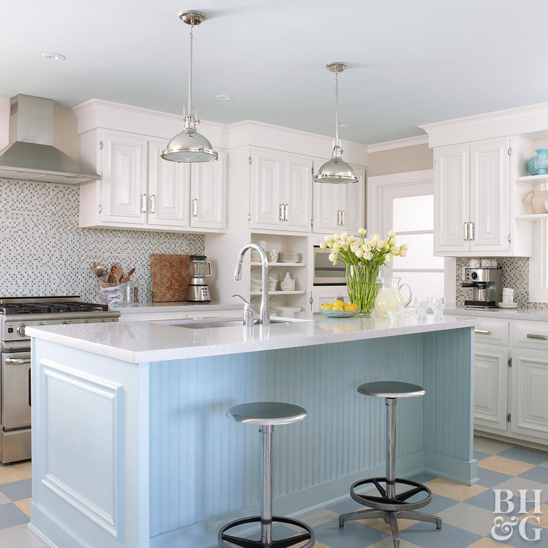 Buckeye Hardwood Floor Supply Of How to Wax Hardwood Floors Better Homes Gardens within Kitchen with Blue island and White Cabinets