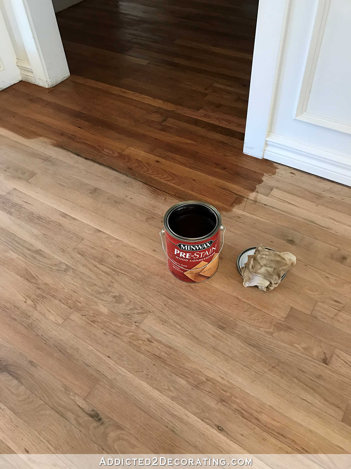 Can You Have Two Different Types Of Hardwood Floors Of Adventures In Staining My Red Oak Hardwood Floors Products Process Pertaining to Staining Red Oak Hardwood Floors 1 Conditioning the Wood with Minwax Pre Stain