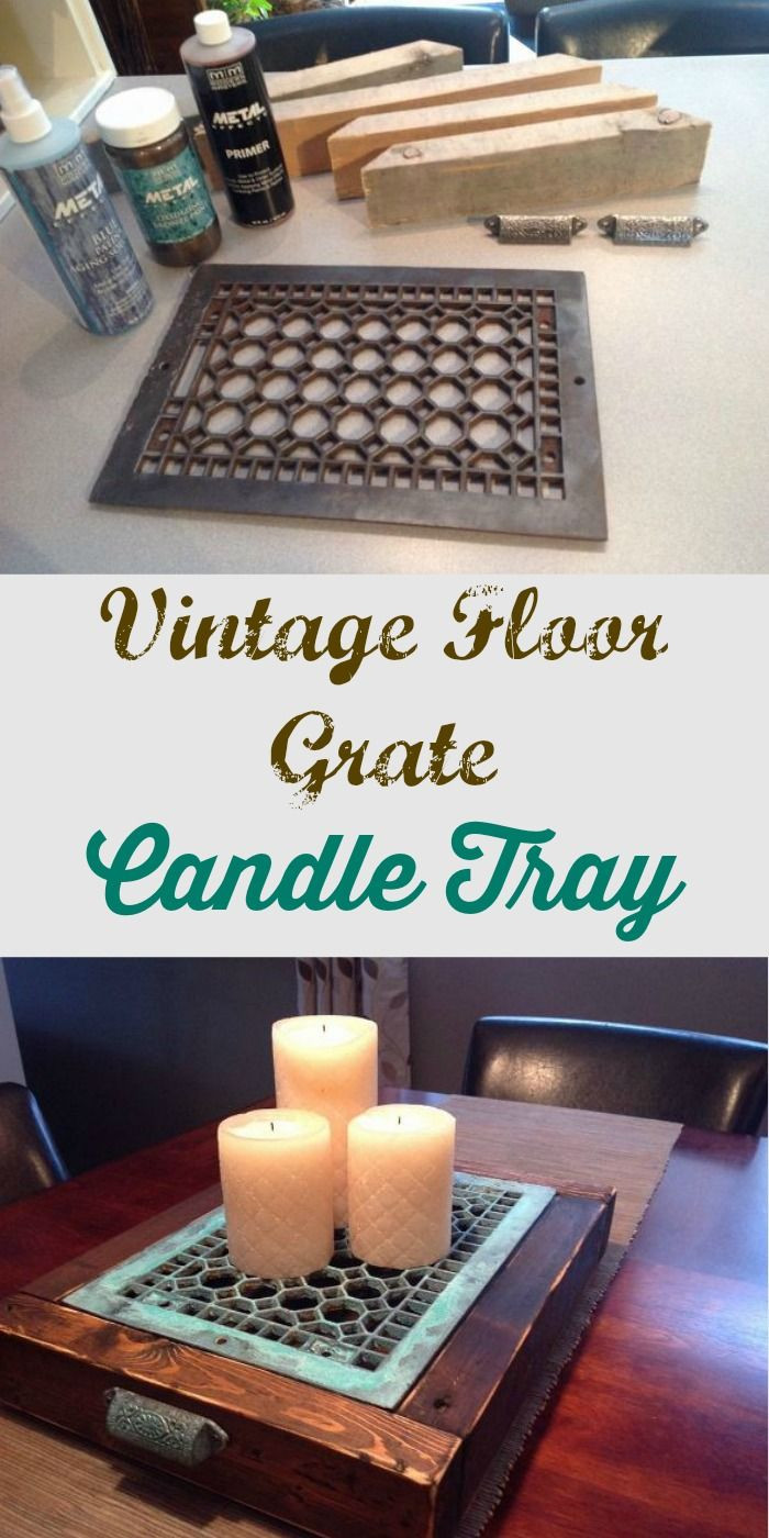 candle wax on hardwood floor of candle tray from upcycled vintage floor heating grate trays in candle tray from upcycled vintage floor heating grate