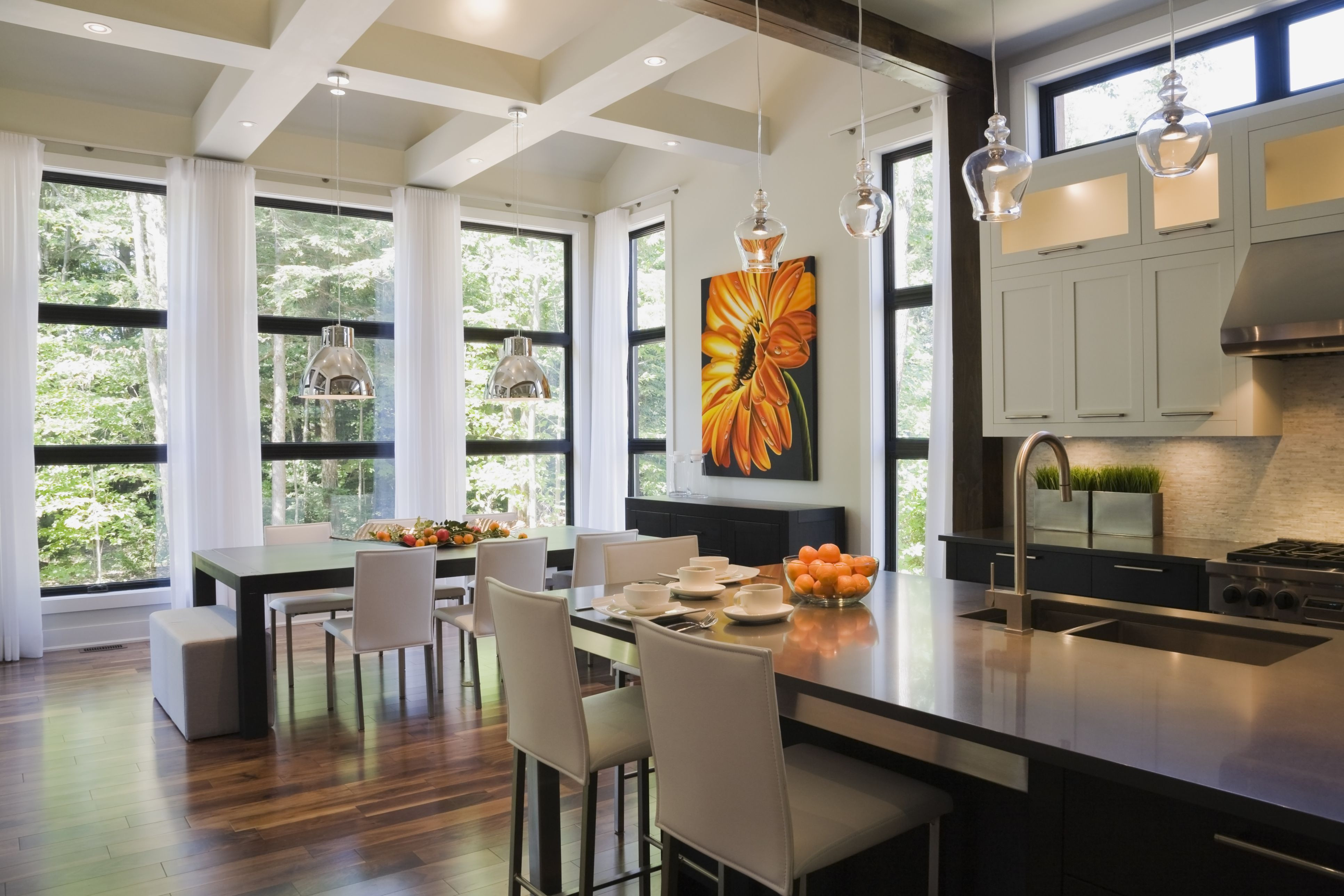 cost to refinish hardwood floors atlanta of the open floor plan history pros and cons intended for upscale kitchen with wood floor and open beam ceiling 519512485 perry mastrovito 56a4a16a3df78cf772835372