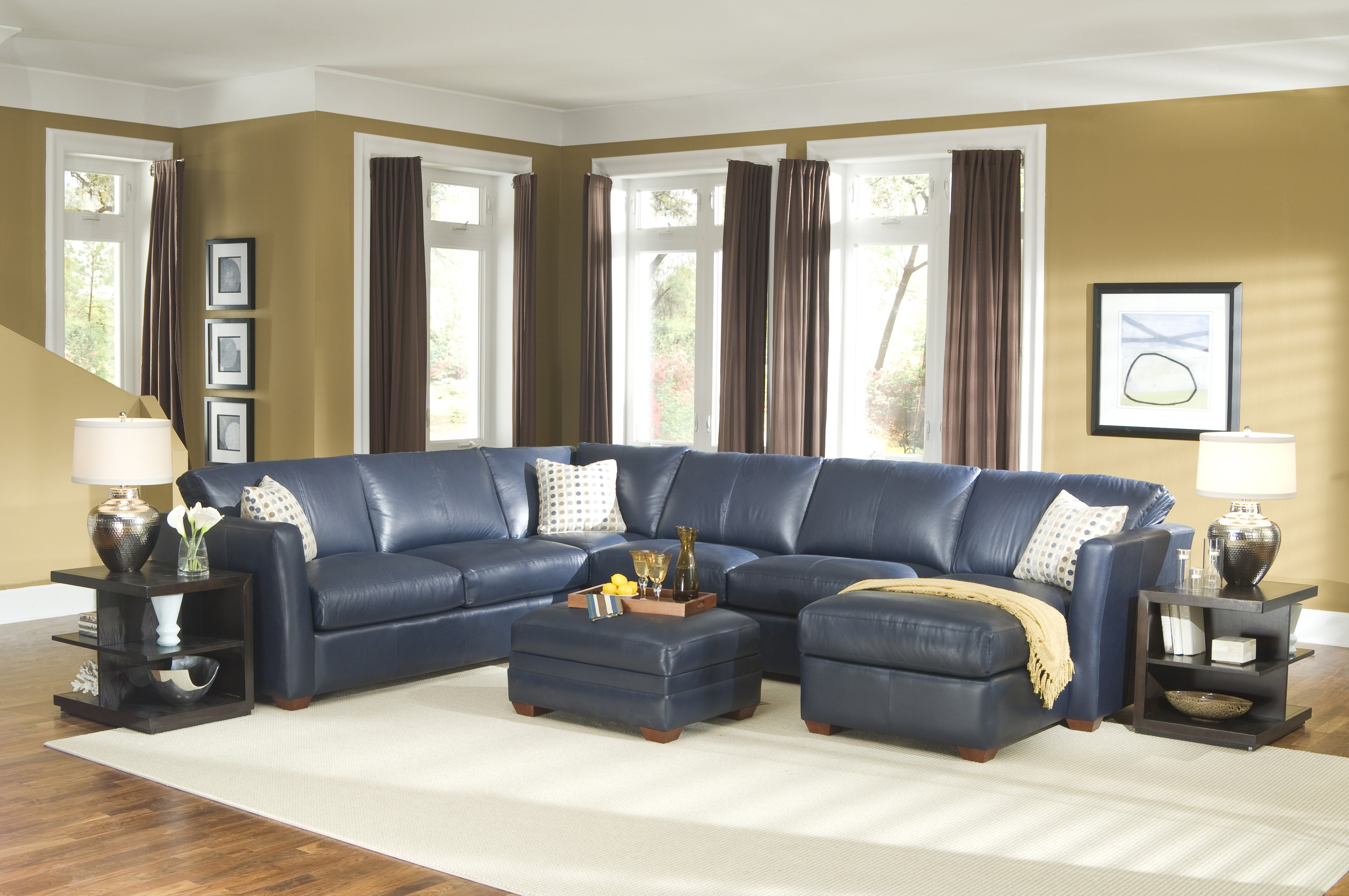 couches for dark hardwood floors of cool dark blue leather sectional sofa and white cushion added by in home interior design
