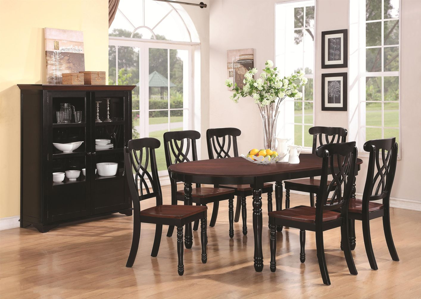 Dark Hardwood Floor Dining Room Of Addison Black and Cherry Wood Dining Table Steal A sofa Furniture within Addison Black and Cherry Wood Dining Table