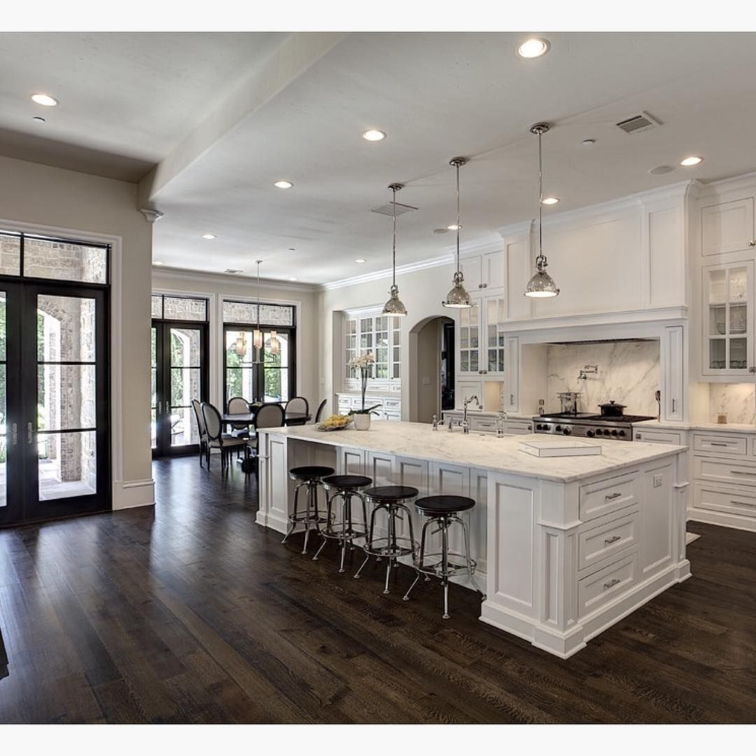Dark To White Kitchen Cabinets: 25 Stylish Dark Hardwood Floors With White Cabinets