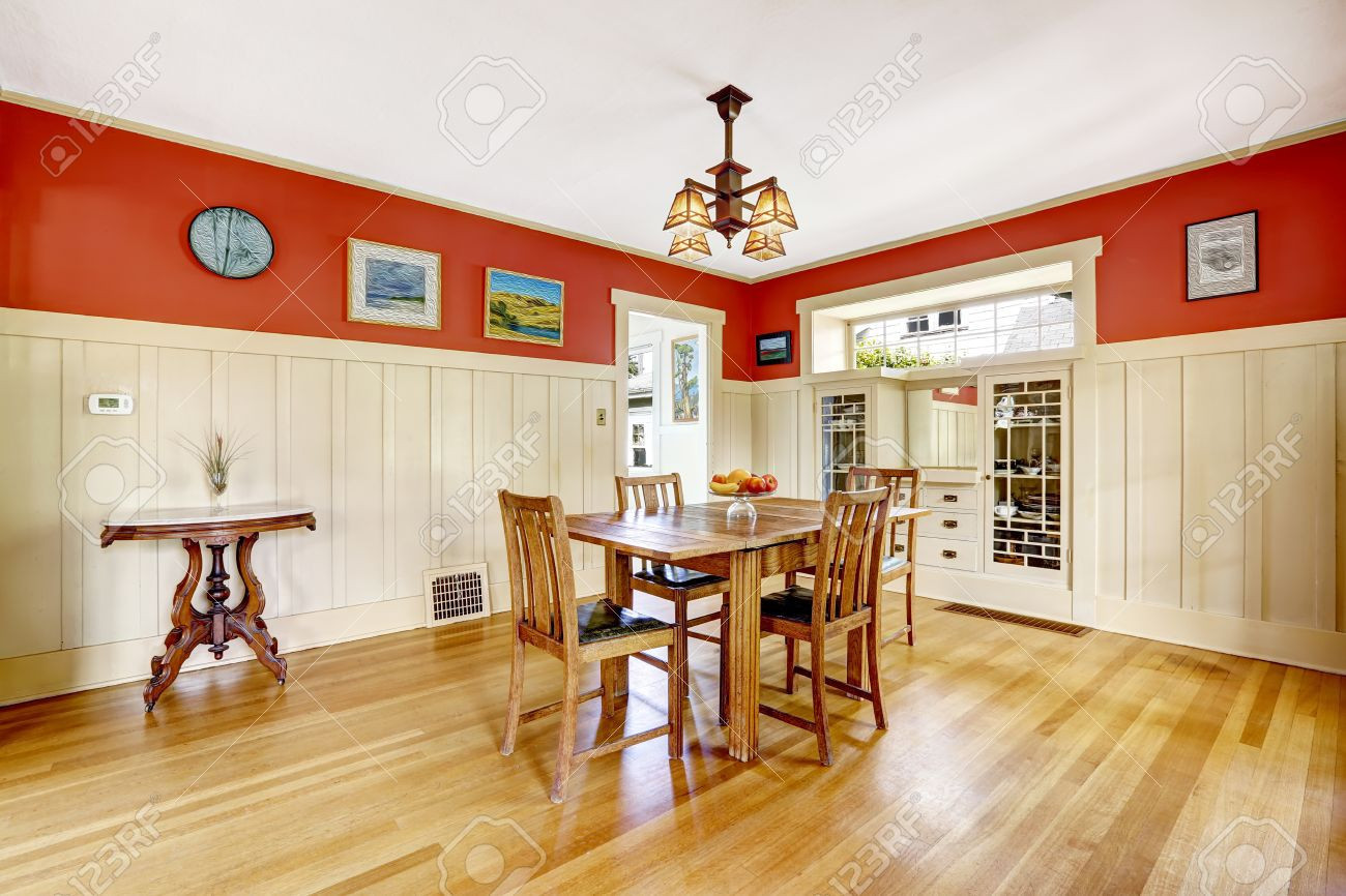 Dark Hardwood Floors with White Trim Of Using Wood Flooring On Walls New Dining Room In Old House with Red within Using Wood Flooring On Walls New Dining Room In Old House with Red and White Wall