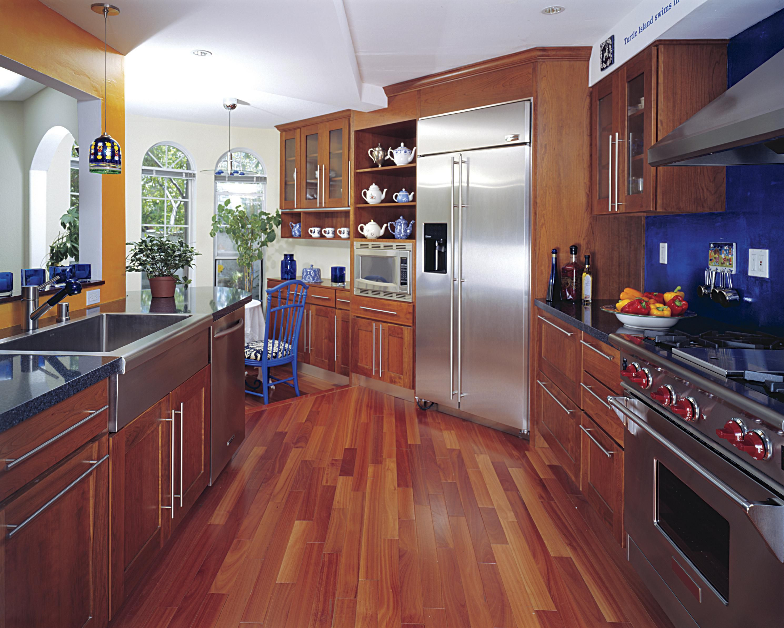 dark stained oak hardwood floors of hardwood floor in a kitchen is this allowed with 186828472 56a49f3a5f9b58b7d0d7e142