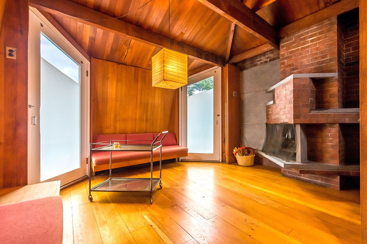 discount hardwood flooring philadelphia of 5 midcentury modern homes in philly you can buy right now curbed with regard to the third floor of anne tyngs home in philadelphia features a slate fireplace that juts out