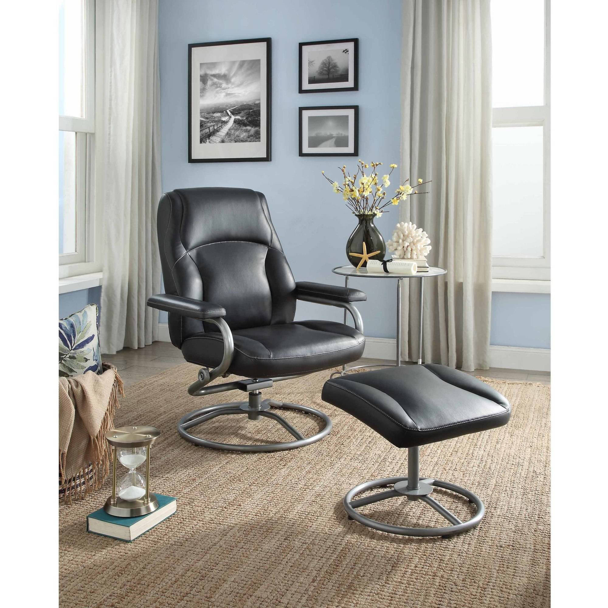 ebay hardwood flooring tools of mainstays plush pillowed recliner swivel chair and ottoman set intended for mainstays plush pillowed recliner swivel chair and ottoman set vinyl multiple colors walmart com