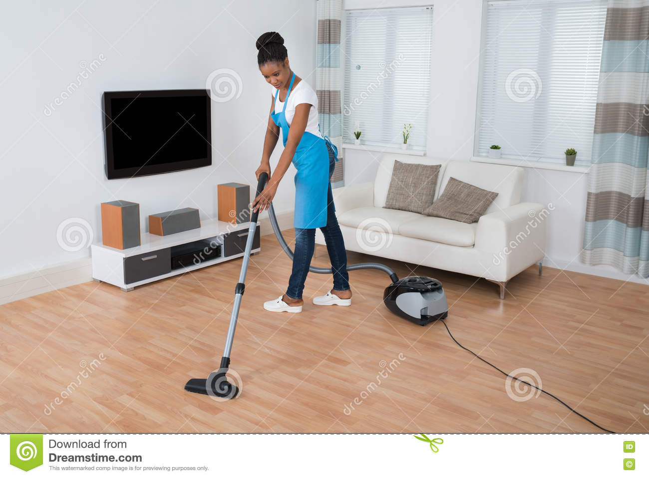 good vacuum cleaner for hardwood floors of woman cleaning floor with vacuum cleaner stock image image of throughout woman cleaning floor with vacuum cleaner