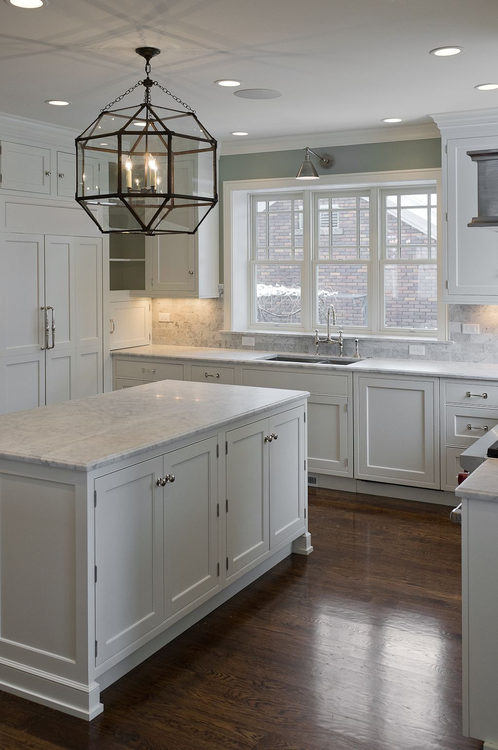 grey hardwood floors grey walls of 30 spectacular white kitchens with dark wood floors kitchen dining for dark floorswhite cabinets white granite silver knobs and gray paint wall