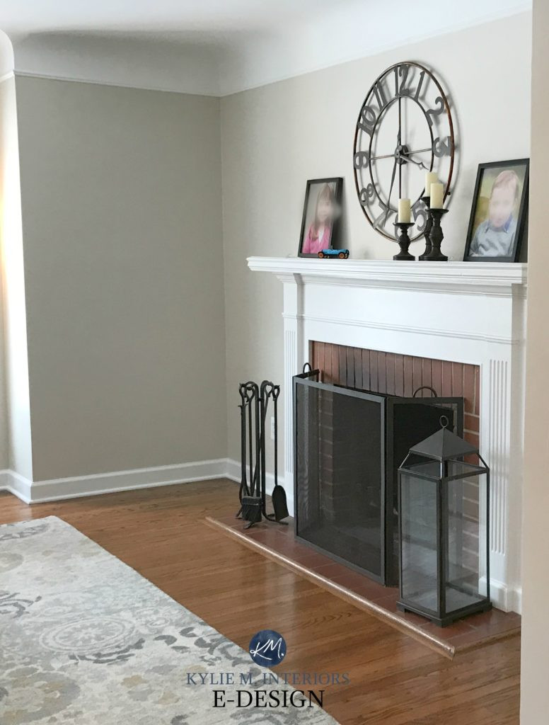 Grey Hardwood Floors Grey Walls Of Colour Review Edgecomb Gray Benjamin Moore within Benjamin Moore Edgecomb Gray Red Brick Fireplace White Mantel Greige Paint Colour