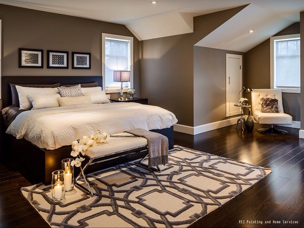 grey hardwood floors in bedroom of a warm and cozy bedroom with dark hardwood floors and brown paint regarding a warm and cozy bedroom with dark hardwood floors and brown paint the white ceiling adds the perfect amount of color balance