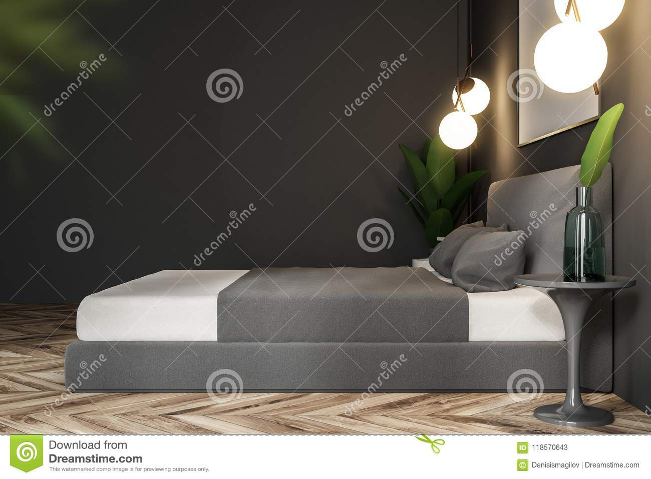 grey hardwood floors in bedroom of gray nature style bedroom side view stock illustration throughout gray nature style bedroom side view