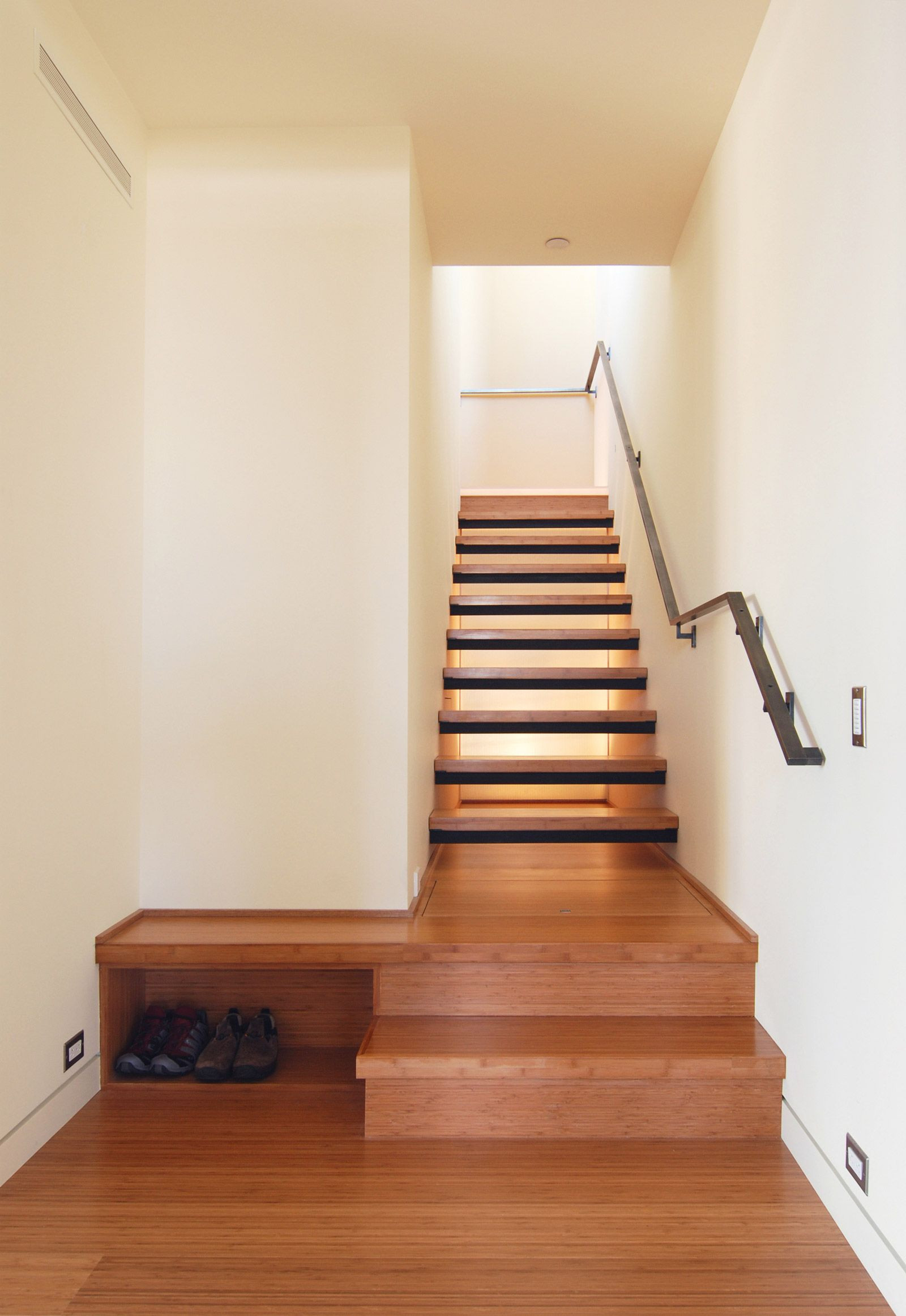 hardwood floor around stairs of a visual guide to stairs these stairs pinterest stairs within solid walls on both sides of stair with open risers window room behind