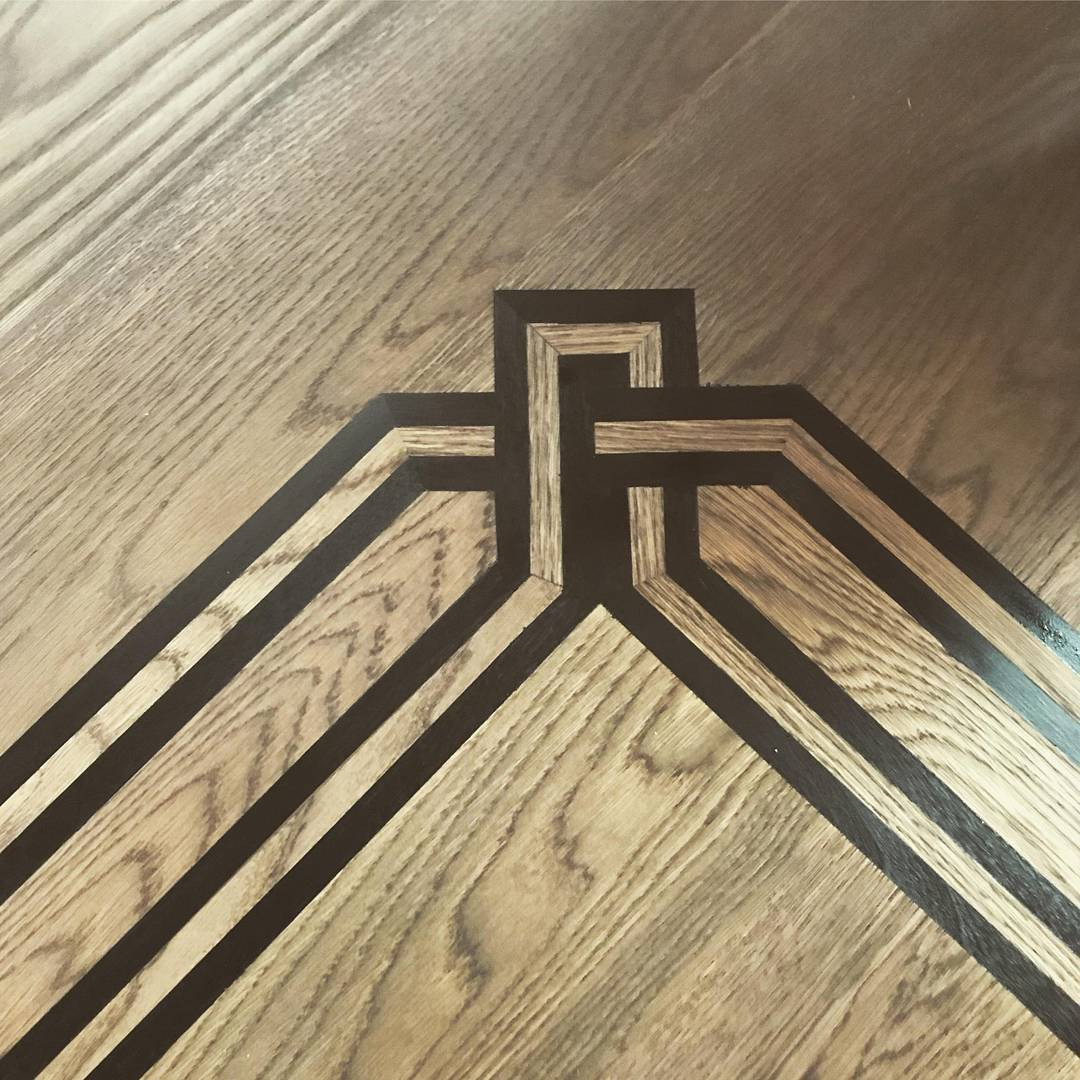 hardwood floor borders inlays of customstains hash tags deskgram regarding color stain in progress cant wait to see the finished product
