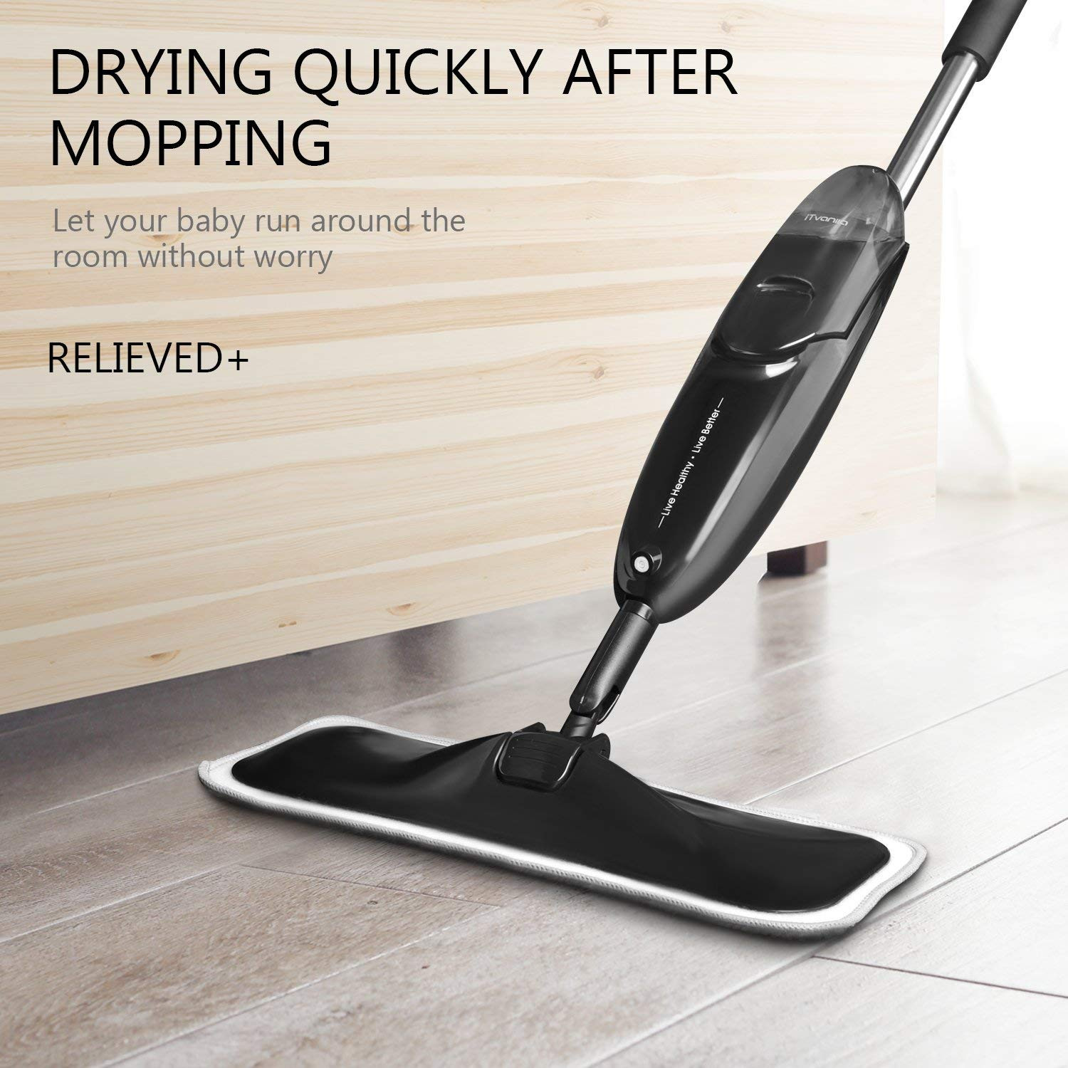 hardwood floor cleaners consumer reviews of amazon com itvanila hardwood floor mop spray microfiber mop with 4 for amazon com itvanila hardwood floor mop spray microfiber mop with 4 pcs reusable microfibre pads 360 degree rotating easy to clean dry wet mop for