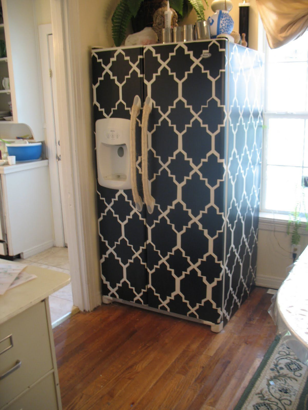 hardwood floor contact paper of ugly old fridge cover it a cheap way to remodel using contact with regard to a cheap way to remodel using contact paper totally would do that with wood style paper