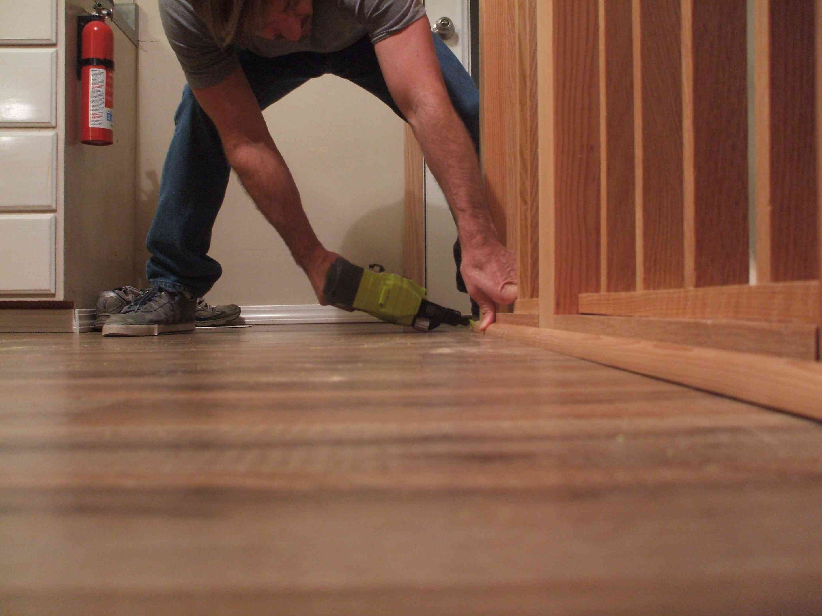hardwood floor edge trim of how to install shoe molding or quarter round molding for nail molding in place with brad nailer 56a49e555f9b58b7d0d7de01 jpg
