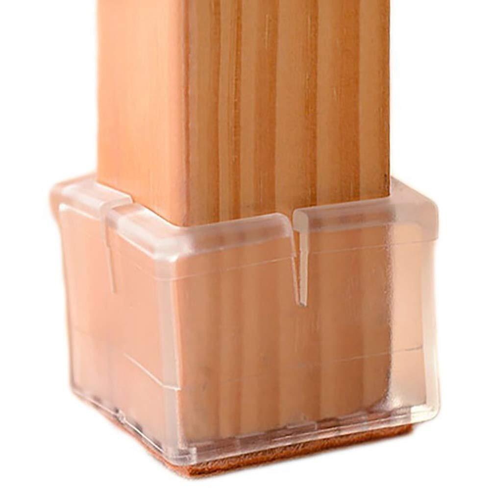 Hardwood Floor Furniture Gripper Pads Of Chair Leg Floor Protectors Square Furniture Leg Caps 1 1 8 to 1 3 8 Regarding Chair Leg Floor Protectors Square Furniture Leg Caps 1 1 8 to 1 3 8 with Felt Pads Clear 16 Pack Amazon Com