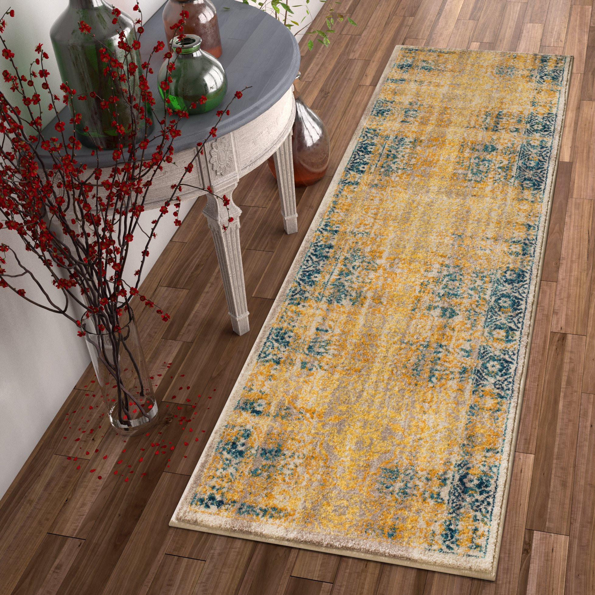 hardwood floor medallion store of well woven bohemian vintage yellow runner rug 23 x 73 free regarding well woven bohemian vintage yellow runner rug 23 x 73 free shipping today overstock com 24115614