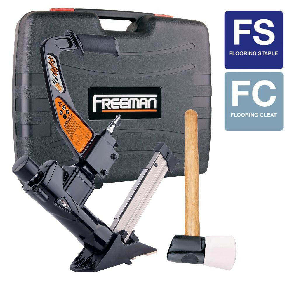 hardwood floor nailer hammer of freeman 3 in 1 flooring air nailer and stapler pfl618br the home depot inside freeman 3 in 1 flooring air nailer and stapler