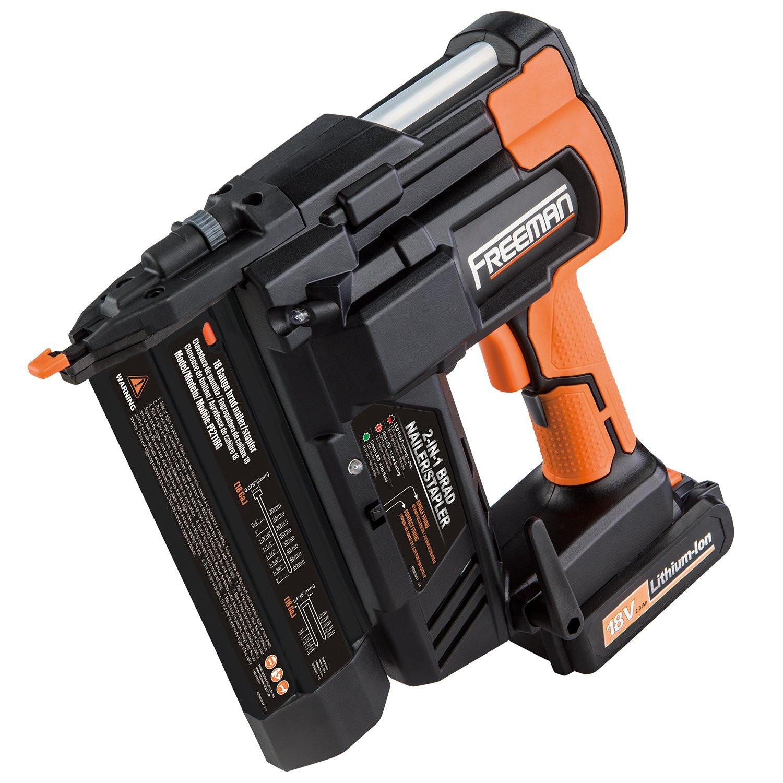 hardwood floor nailer rental cost of best rated in power nailers staplers helpful customer reviews in freeman pe2118g 18 volt 2 in 1 18 gauge cordless nailer stapler product