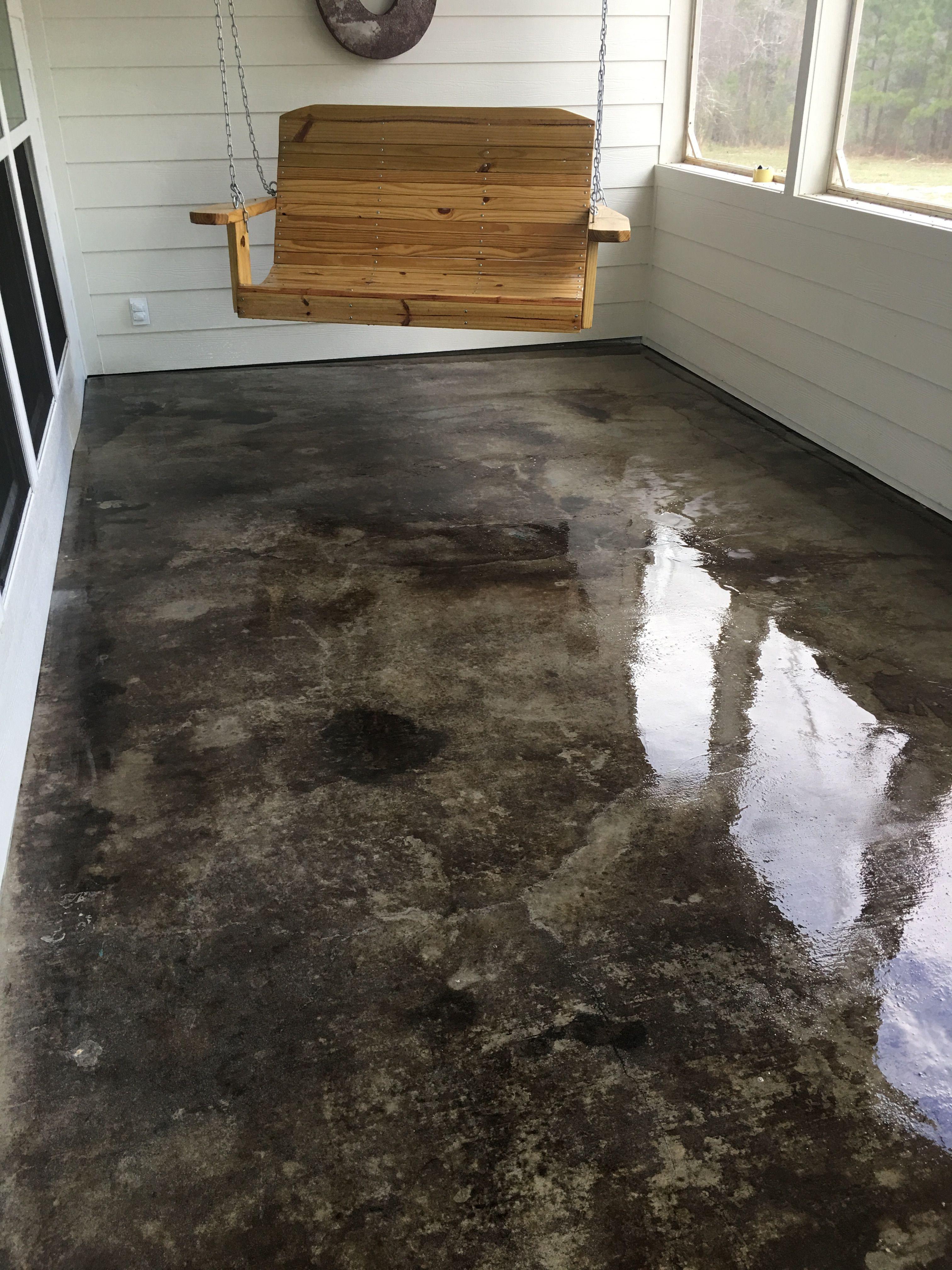 hardwood floor on cement slab of gray acid stained concrete porch basement floor pinterest inside gray acid stained concrete porch porch flooring diy flooring basement flooring basement remodeling