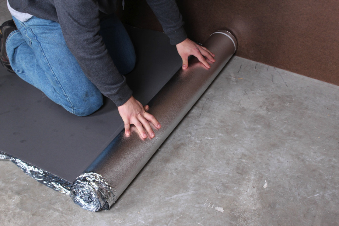 Hardwood Floor Over Concrete Of How to Install Vapor 3 In 1 Silver Underlayment within 3 Unroll the Flooring