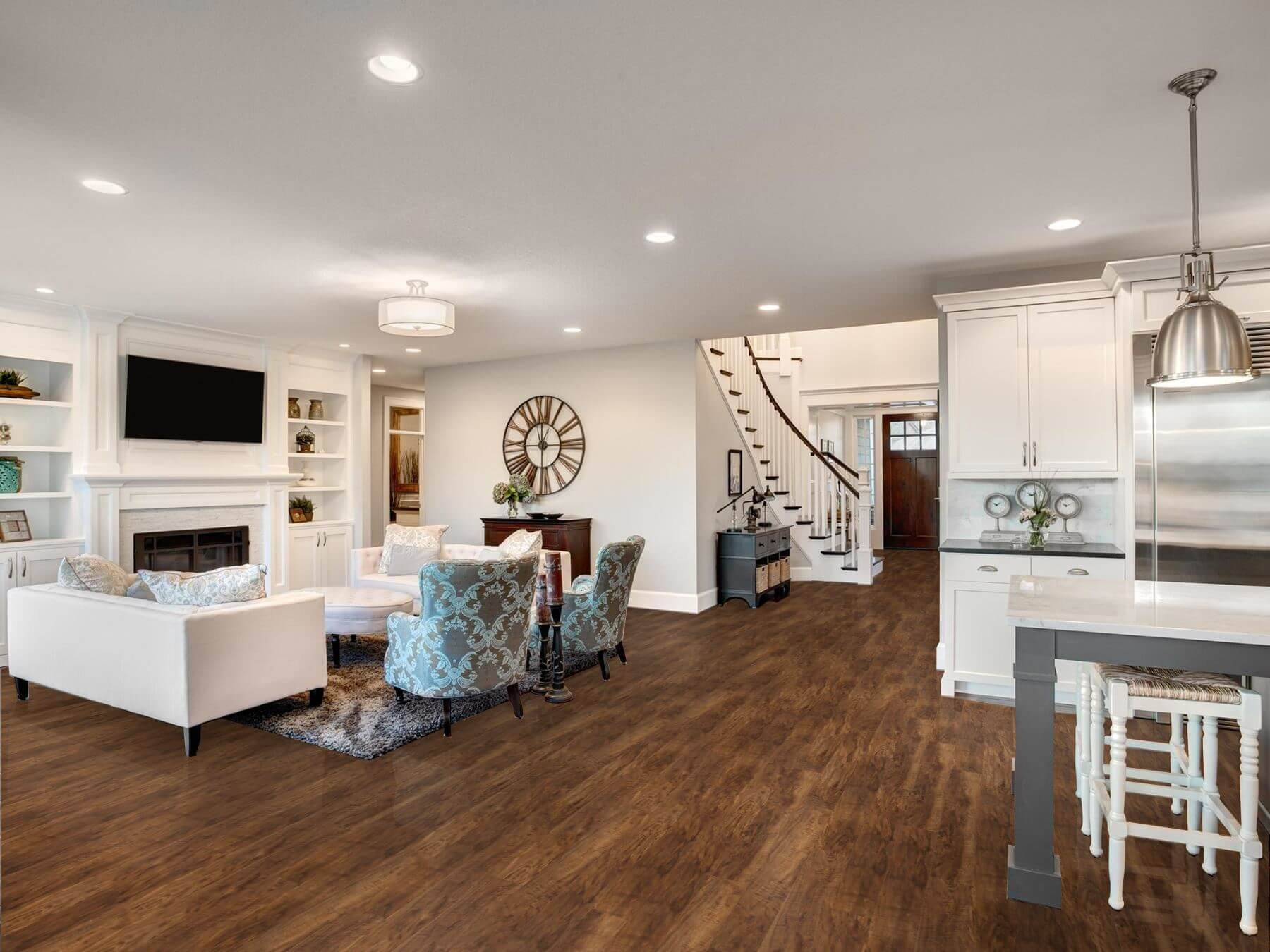 hardwood floor over tile of earthwerks flooring with earthwerks room visualizer