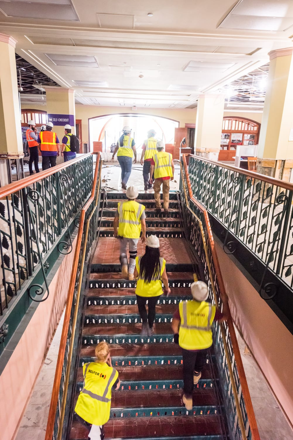 hardwood floor refinishing kansas city mo of building great room murals hale library blog throughout belfor workers make their way from the first floor to second since this photo was taken the wooden display cases to the right and left of the second floor