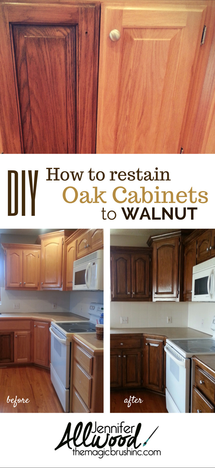 hardwood floor refinishing naperville il of cabinets and furniture finishes how to repair pinterest with regard to how to change your tired oak kitchen cabinets to a dark walnut stain themagicbrushinc coms video has step by step instructions products and trade