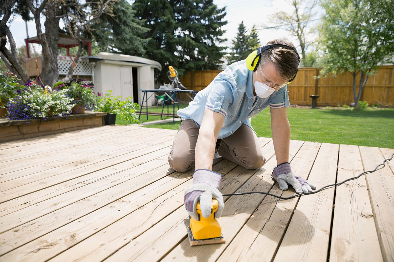 hardwood floor refinishing rental equipment of tips for properly sanding a wood deck after washing pertaining to gettyimages 500817135 5a6519907bb283003730b5bb