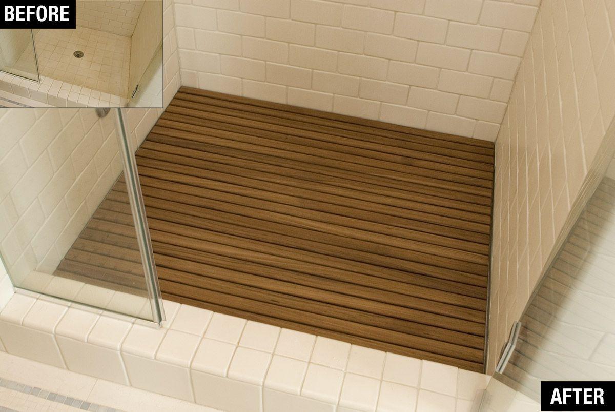 hardwood floor repair charleston sc of 7 fast and fabulous fixes for frightful floors in teak bathmat via smallspaces about com 56f6e5253df78c78418dff27