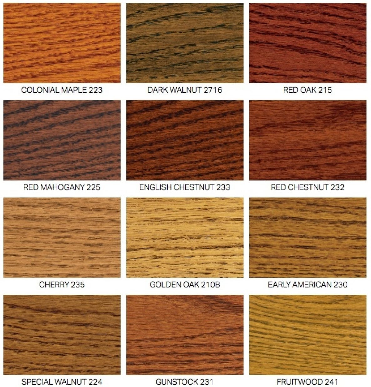 Hardwood Floor Stain Color Chart