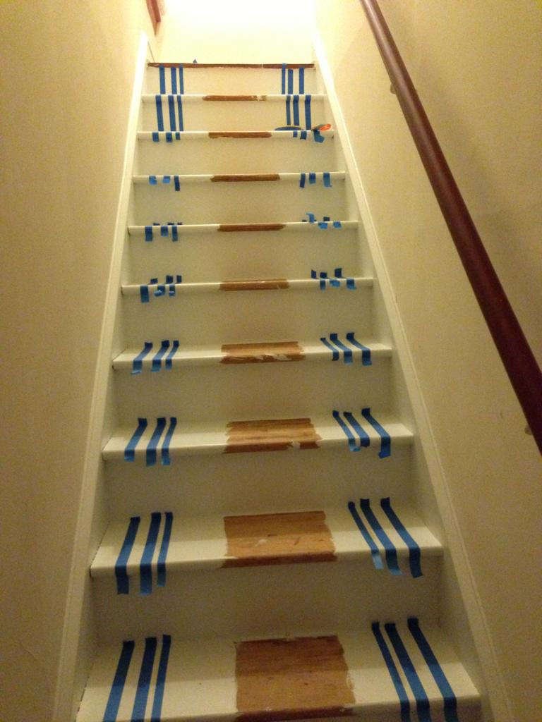 hardwood floor stairs slippery of i ripped the old carpet off my stairs and painted a runner i think regarding with all of the marking done putting the tape on the treads was fairly straightforward i just lined up each piece of tape so that it was on the pencil