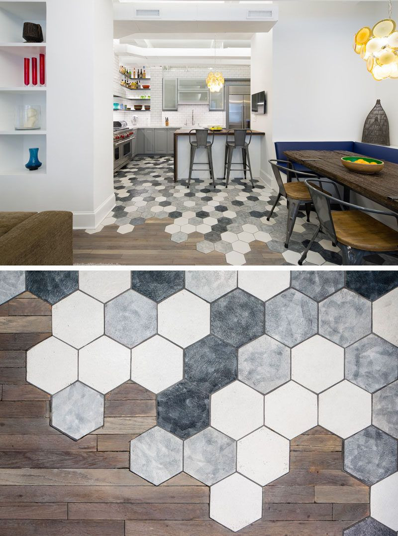 hardwood floor transition between uneven rooms of 19 ideas for using hexagons in interior design and architecture intended for in interior design and architecture this new york apartment creatively transitions from hexagon tiles in the kitchen to hardwood in the dining room