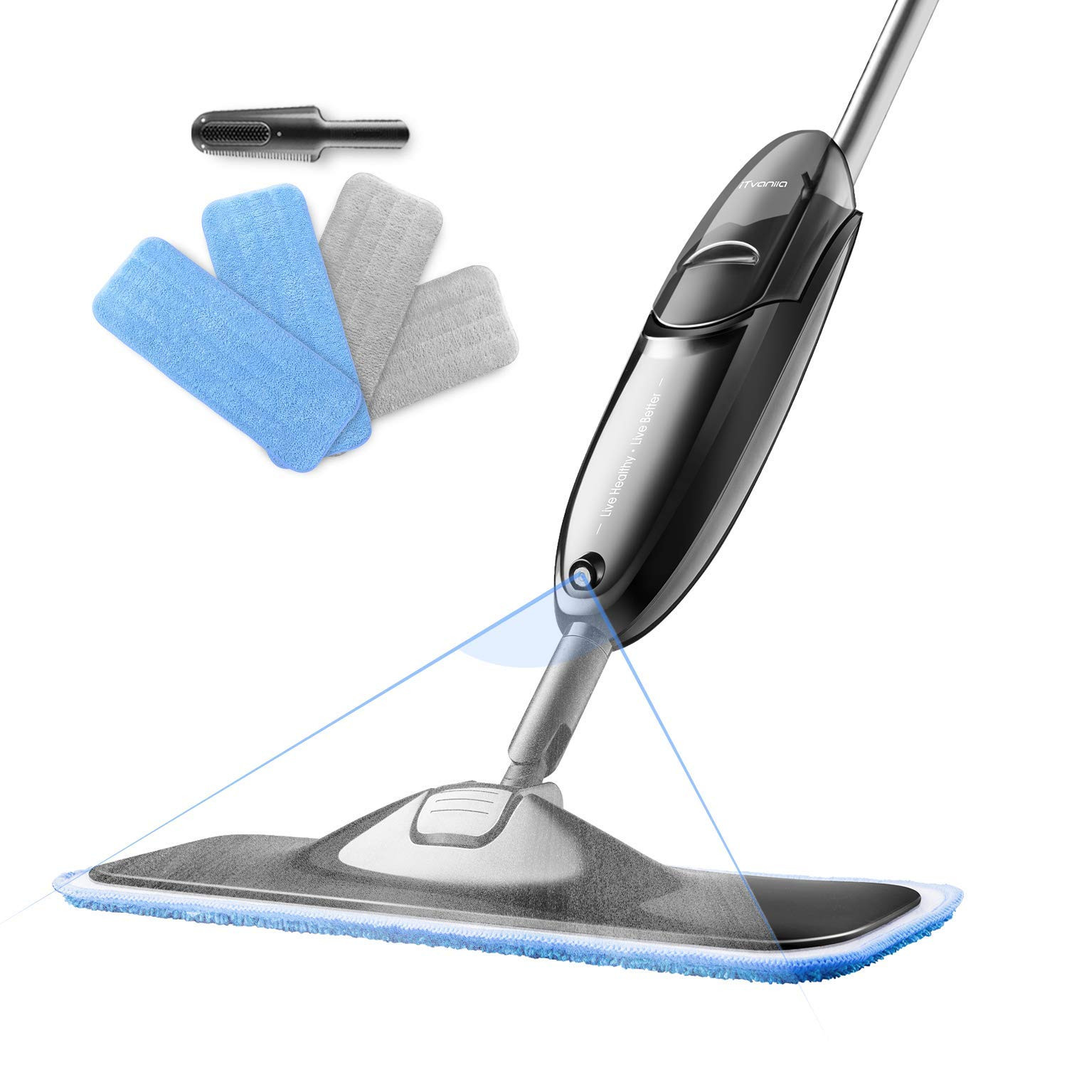 hardwood floor vacuum and mop of amazon com itvanila hardwood floor mop spray microfiber mop with 4 for amazon com itvanila hardwood floor mop spray microfiber mop with 4 pcs reusable microfibre pads 360 degree rotating easy to clean dry wet mop for