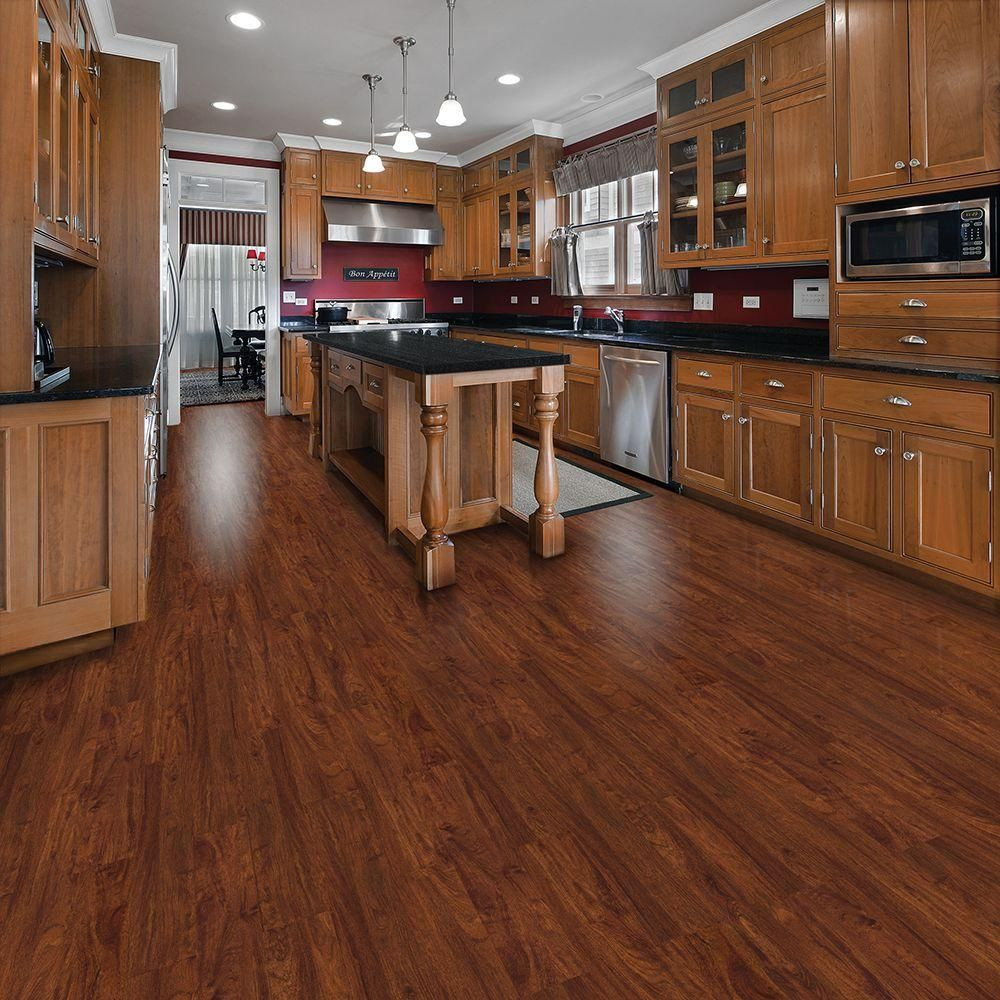 Hardwood Flooring 6 Inch Planks Of Trafficmaster Allure 6 In X 36 In Cherry Luxury Vinyl Plank In In the Kitchen We are Washing Cooking and Spilling A Lot so the Selection