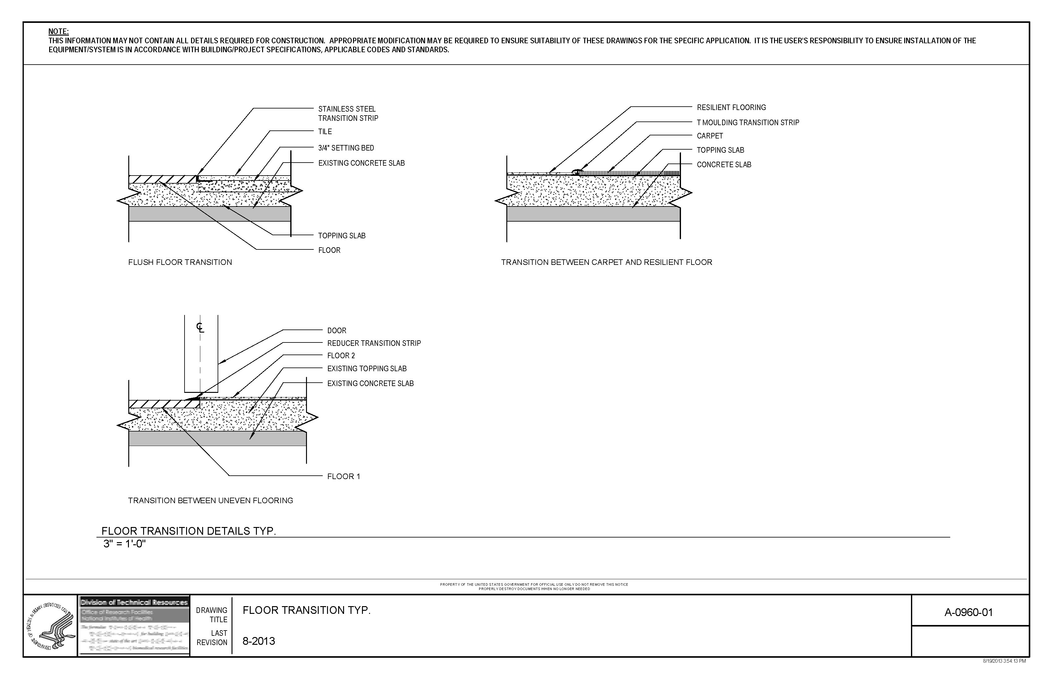 hardwood flooring dimension standards of nih standard cad details within thumbnail of a 0960 01 floor transition detail typ