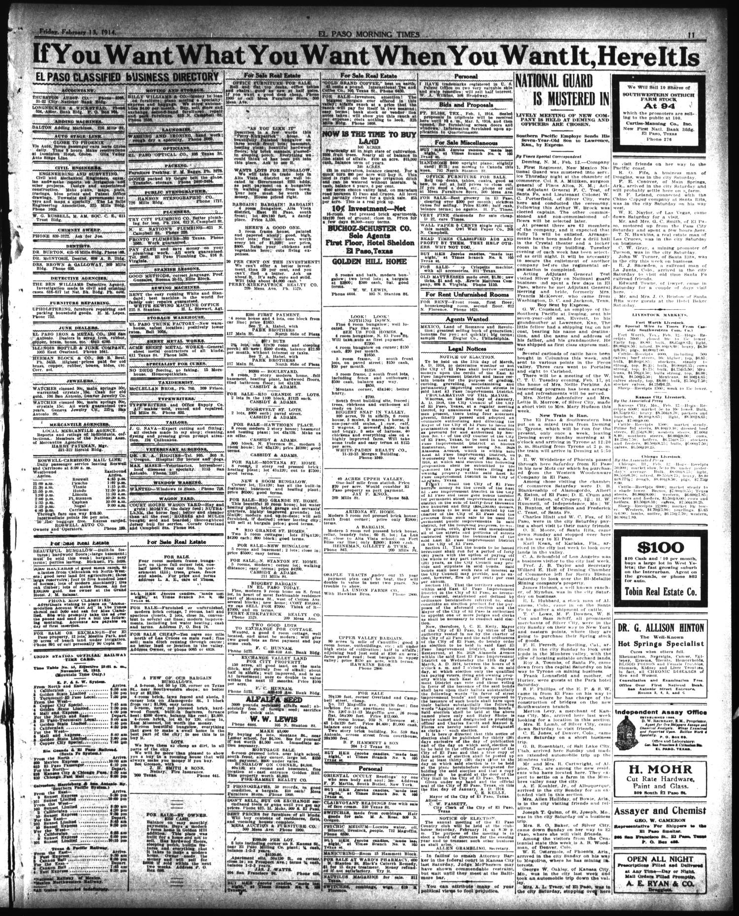 Hardwood Flooring El Paso Tx Of El Paso Morning Times El Paso Tex Vol 34th Year Ed 1 Friday with Regard to El Paso Morning Times El Paso Tex Vol 34th Year Ed 1 Friday February 13 1914 Page 11 Of 12 the Portal to Texas History