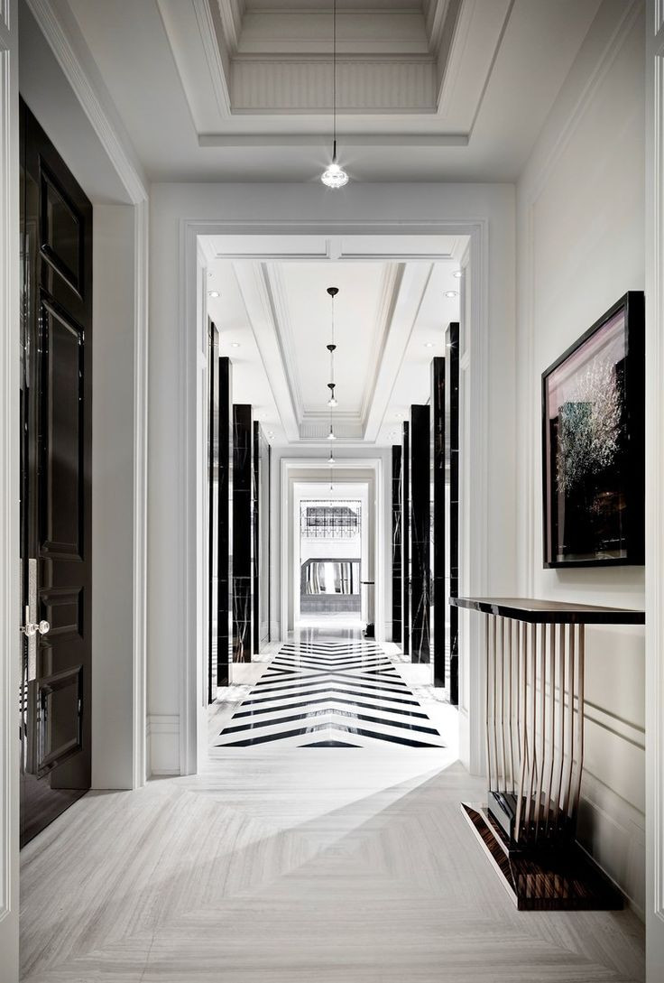 hardwood flooring langley of 1202 best walls ciling and floor images on pinterest flooring intended for a hallway highlights the black and white palette with a chevron tiling pattern and