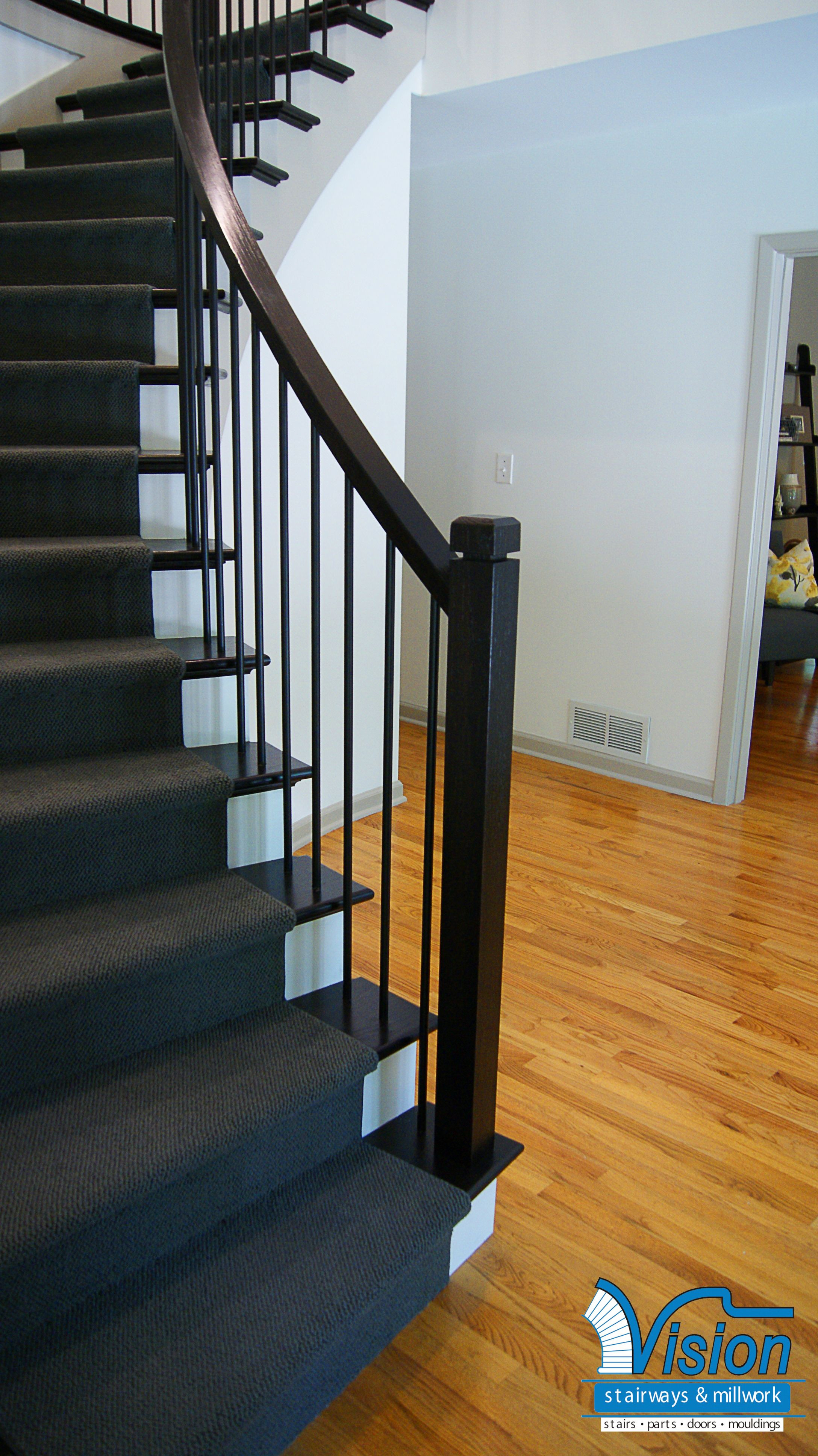 Hardwood Flooring Portland Maine Of Curved Staircase with Iron Railing and Balusters with Ebony Stained Inside Curved Staircase with Iron Railing and Balusters with Ebony Stained Wooden Newels and Return Treads