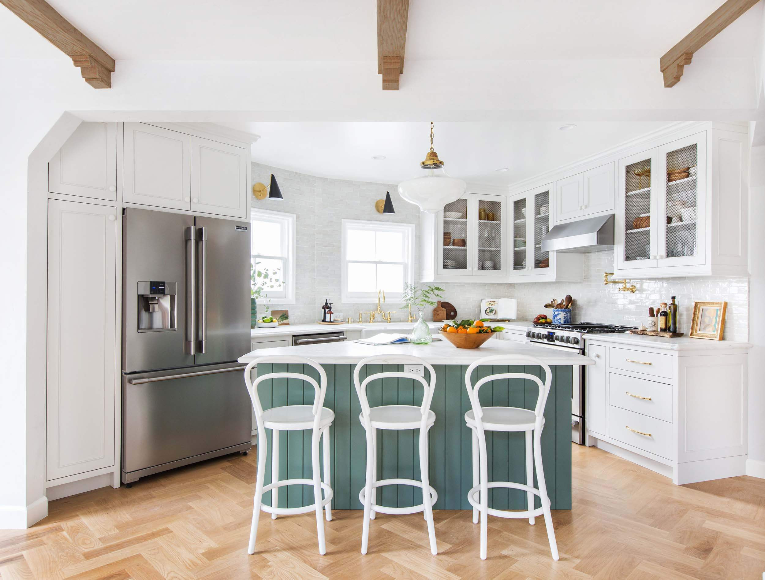 Hardwood Flooring Scraps Of My Kitchen Design A Year Later Lots to Love some Regrets Emily Pertaining to Emily Henderson Frigidaire Kitchen Reveal Waverly English Modern Edited Beams 121