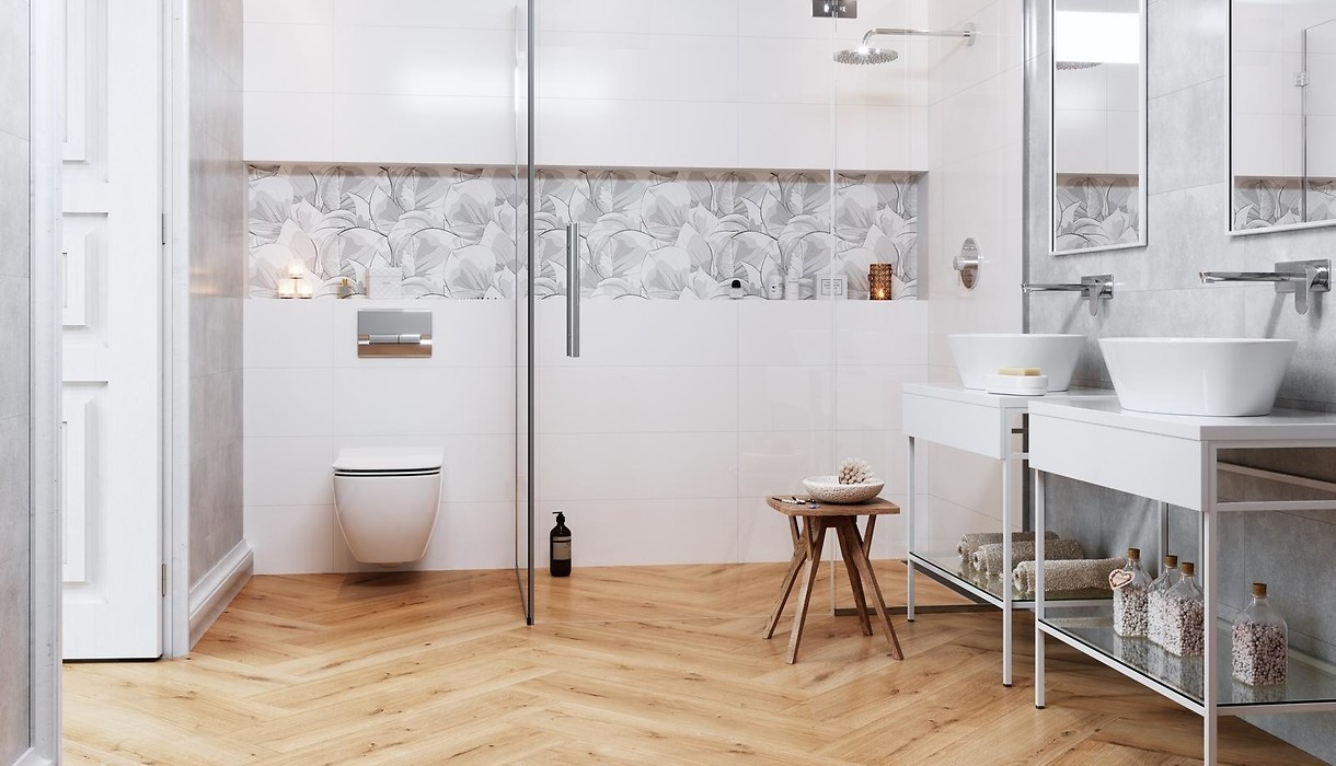 Hardwood Floors and Tile Flooring Combination Of Tiles Flower Cemento White Collections Opoczno Ceramic Tiles Intended for Flower Cemento White 1