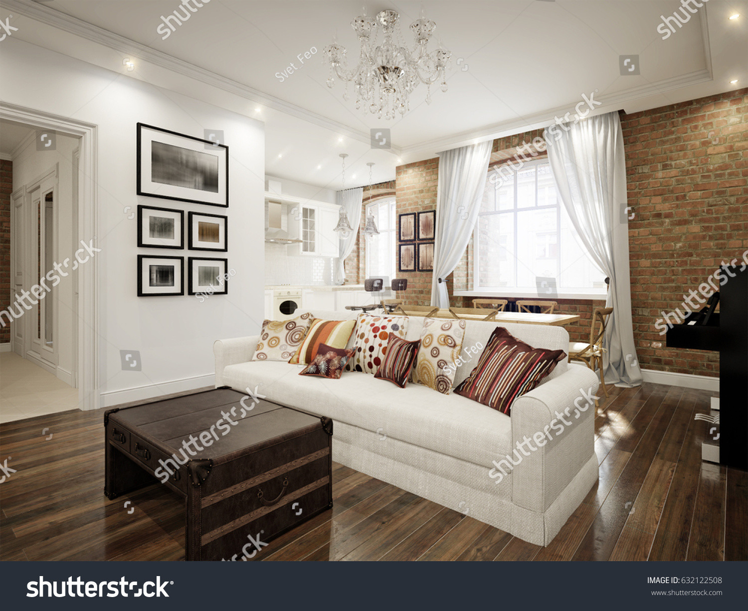 hardwood floors white walls of modern classic traditional white living room stock illustration in modern classic traditional white living room in old vintage european apartment with brick walls 3d