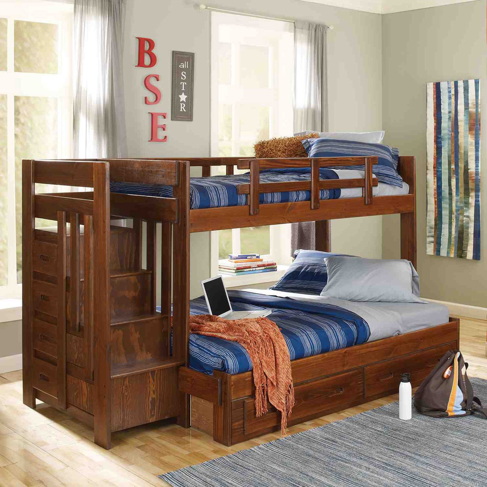 heartland hardwood flooring knoxville of woodcrest heartland twin over full reversible stair bunk bed within woodcrest heartland twin over full reversible stair bunk bed walmart com